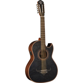 Oscar Schmidt OH32SEQTB Acoustic-Electric Bajo Quinto w/ Bag, Transparent Black