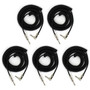 Perfektion Black Heavy Duty Vintage 20FT Coiled Guitar Instrument Cable - 5 PACK
