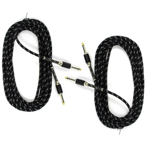 Perfektion 20ft Vintage Black Tweed Guitar Bass & Instrument Cable - 2 PACK