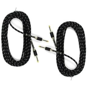 ZoZo Vintage Black Tweed 20ft Guitar Cable, Black Tweed - 2 PACK