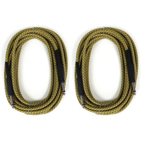 ZoZo Vintage Tweed 20' ft Guitar Cable 2 PACK - Heavy Duty Instrument Cord