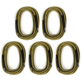 ZoZo Vintage Tweed 20' ft Guitar Cable 5 PACK - Heavy Duty Instrument Cord