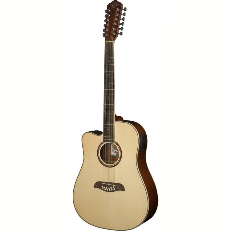Oscar Schmidt OD312CELH Left Handed 12-String Acoustic Electric Guitar, Natural