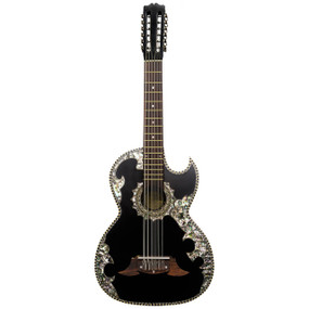 Paracho Elite Belleza 12-String Bajo Sexto Acoustic Guitar with Solid Cedar Top, Black (BELLEZA)