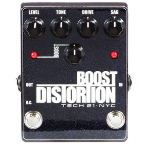 Tech21 BSTM-D Metallic Series Boost Distortion Guitar Effects Pedal, Clean Boost