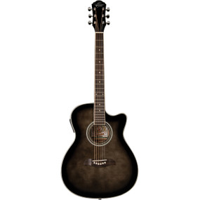 Oscar Schmidt OACEFTB Auditorium Acoustic Electric Guitar w/ Flame Maple Top, Trans Black