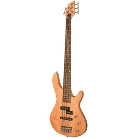 Kona KE5BN 5-String Electric Bass Guitar with Split Pickups, Natural Finish