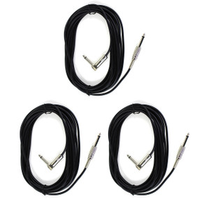 Perfektion PM203 Black 20FT Guitar, Bass, & Instrument Cable - 3 PACK