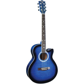 Indiana Madison MAD-QTBL Deluxe Quilt Acoustic Electric Guitar, Blue