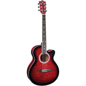 Indiana Madison MAD-QTRD Deluxe Quilt Acoustic Electric Guitar, Red