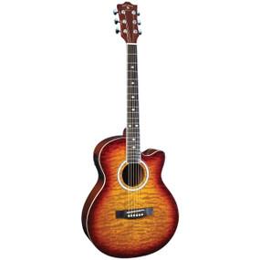 Indiana Madison MAD-QTTB Deluxe Quilt Acoustic Electric Guitar, Tobacco Sunburst
