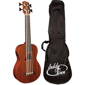 Eddy Finn EF-EBASS-FL Fretless Acoustic Electric Bass Ukulele w/ Gig Bag, Natural