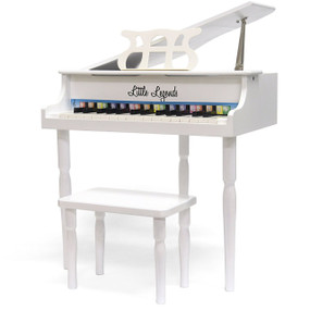 Little Legends LLBGD303W 3 Leg Baby Grand 30-Key Toy Piano w/ Bench, White