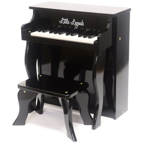 Little Legends LLSP25TBK 25-Key Traditional Spinet Upright Toy Piano, Black