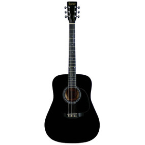 Lauren LA125BK 6-String Dreadnought Acoustic Guitar, Black Satin Finish