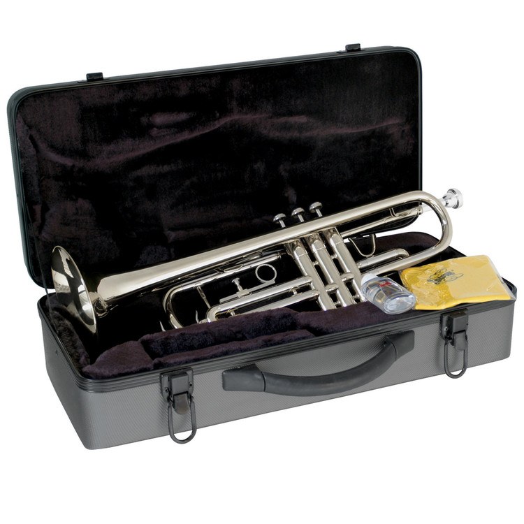 Lauren Student Bb Outfit LTR110 B-Flat Trumpet with Case, Silver Plated