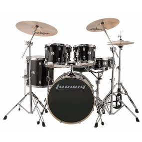 Ludwig LCEE20016I Element Evolution 5-Piece Drum Set w/ Zildjian I Cymbals, Black Sparkle (LCEE20016I)