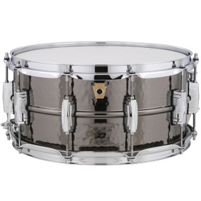 "Ludwig LB417K Black Beauty Snare Drum, 6.5"" x 14"" Hammered Shell with Imperial Lugs"