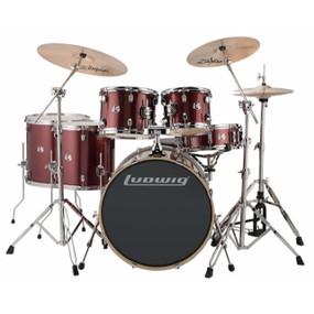 Ludwig LCEE622025 Element Evolution 6-Piece Drum Set w/ Zildjian Cymbals, Wine Red Sparkle
