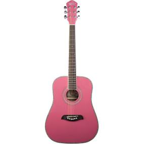 Oscar Schmidt OG1 3/4 Size Dreadnought Acoustic Guitar, Pink