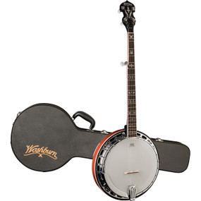 Washburn B16K Americana Flame Maple 5-String Resonator Banjo with Hardshell Case, Sunburst