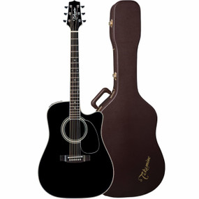Takamine EF341SC Dreadnought Acoustic Electric Guitar w/ Hard Case, Black