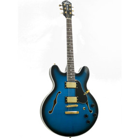 Oscar Schmidt OE30 Semi-Hollow Body 335-Style Electric Guitar, Flame Blue Burst