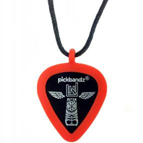 Pickbandz Rope Necklace with Guitar Pick Holder Pendant, Fire Orange (PBN-OR)