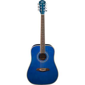 Oscar Schmidt OGHSTBL Student 1/2 Size Steel String Acoustic Guitar, Trans Blue (OGHSTBL)