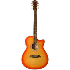 Oscar Schmidt OACEFCS Auditorium Acoustic Electric Guitar, Flame Cherry Sunburst
