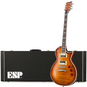 ESP LTD EC-1000FM Flame Maple Top Electric Guitar with Hard Case, Amber Sunburst