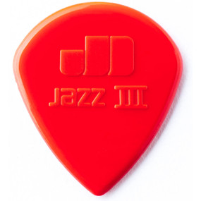 Dunlop 47P3N Nylon Jazz III Guitar Picks, Red 6 Pack