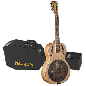 Washburn R360SMK Parlor Acoustic Resonator Guitar w/ Case, Spalted Maple