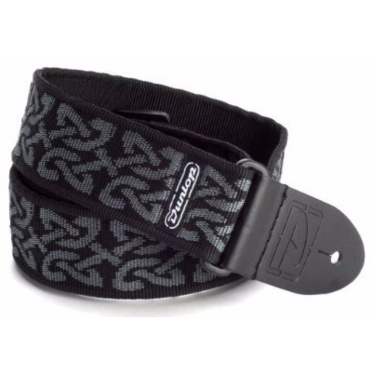 Dunlop D38-14GY Celtic Grey Classic Woven Nylon Guitar Strap with Leather Ends, Celtic Gray