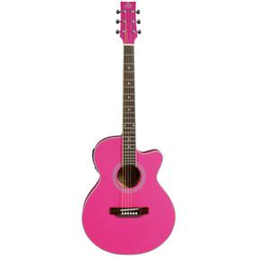 JB Player JBEA15PK Thin Body Cutaway Acoustic Electric Guitar, Pink