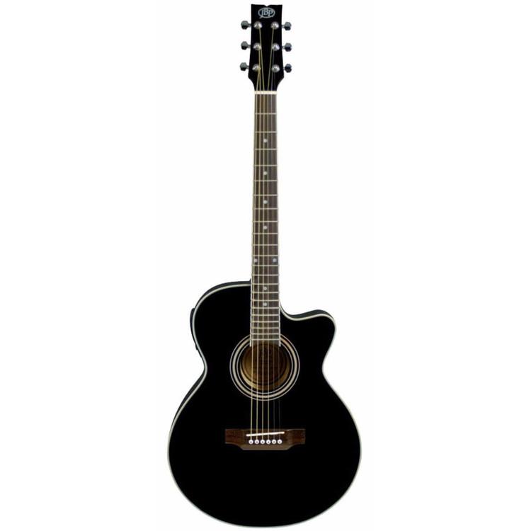 JB Player JBEA15BK Thin Body Cutaway Acoustic Electric Guitar, Black