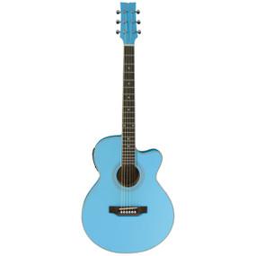 JB Player JBEA15PB Thin Body Cutaway Acoustic Electric Guitar, Powder Blue