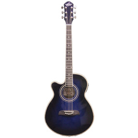 Oscar Schmidt OG10CEFTBLLH Left-Handed Acoustic Electric Guitar, Trans Blue