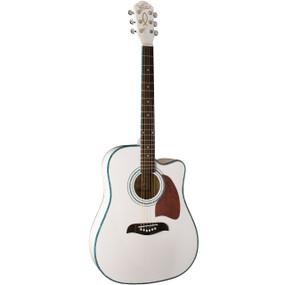 Oscar Schmidt OG2CEWH Dreadnought Cutaway Acoustic Electric Guitar, White