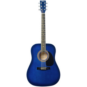Johnson JG-610-BL-3/4 Player Series 3/4 Size Acoustic Guitar, Blue Burst