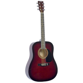 Johnson JG-610-R-3/4 Player Series 3/4 Size Acoustic Guitar, Red