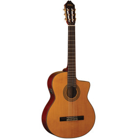 Washburn C64SCE Solid Top Nylon String Classical Acoustic Electric Guitar, Natural