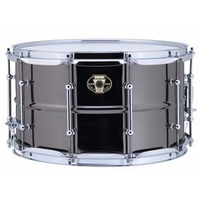 "Ludwig LW0814C Black Magic 8""x14"" Snare Drum w/ Chrome Hardware & Tube Lugs"