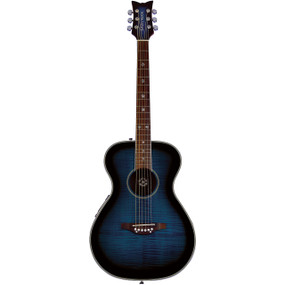Daisy Rock Pixie DR6221 Flame Top Acoustic Electric Guitar, Blueberry Burst