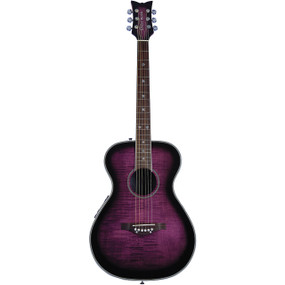 Daisy Rock Pixie DR6222 Flame Top Acoustic Electric Guitar, Plum Purple Burst