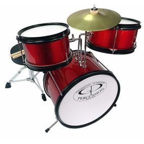 GP Percussion GP40 Complete Junior 3-Piece Kids Drum Set, Metallic Red