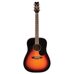 Jasmine JD39-SB Dreadnought Acoustic Guitar with Deluxe Hardshell Case, Sunburst