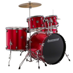 Ludwig LC17514 Accent Drive Complete Full Size 5-Piece Drum Set, Red Foil