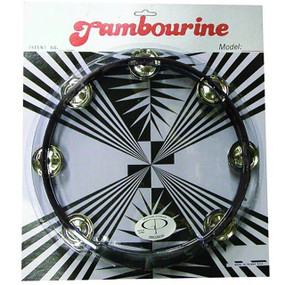 "GP Percussion MT101BK Professional 10"" Double Row Tambourine, Black"