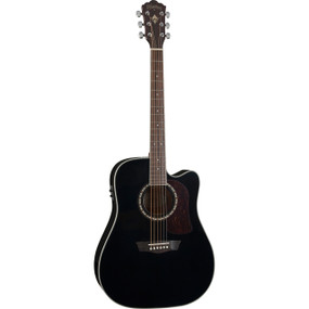 Washburn Heritage HD10SCEB Dreadnought Cutaway Acoustic Electric Guitar, Black